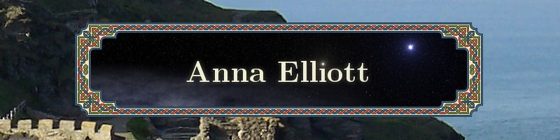 Site title Anna Elliott Books over photo of Tintagel